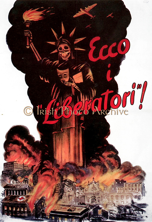 Italian World War II poster. 'Here are the liberators`. Shows the Statue of Liberty as an angel of death, with Italian cities destroyed after US bombing. Published by government of the Italian Social Republic (SALO).