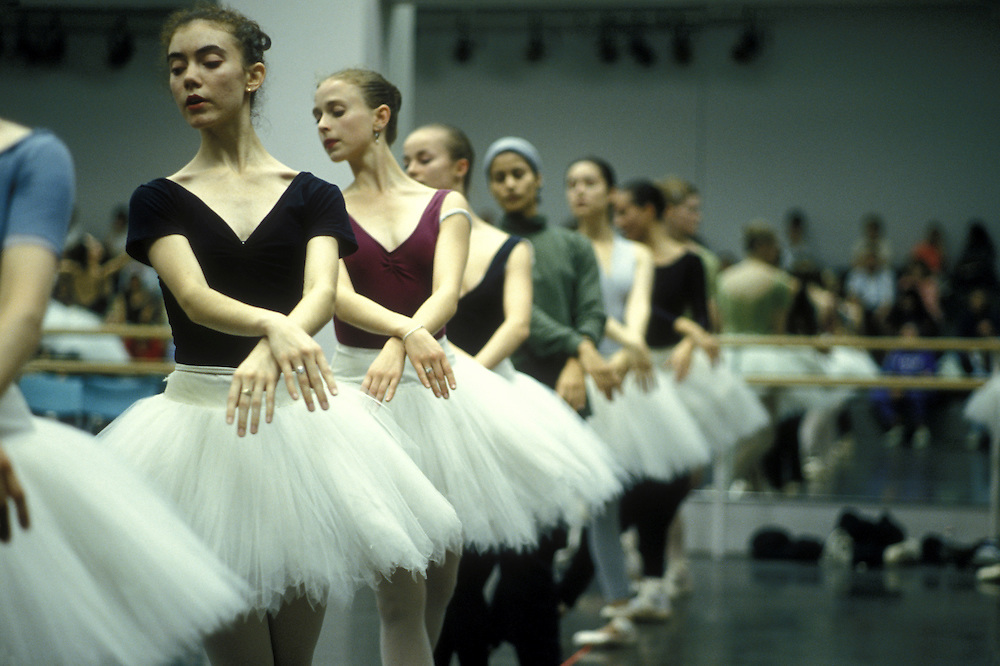 Canada, Manitoba, Winnipeg, The Royal Winnipeg Ballet company rehearses Swan Lake in conservatory studio