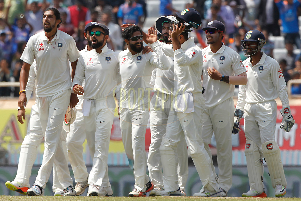 Team India celebrates the wicket of Steven Smith Captain of Australia during day five of the third test match between India and Australia held at the JSCA International Stadium Complex in Ranchi on the 20th March 2017. <br /> <br /> Photo by: Deepak Malik / BCCI/ SPORTZPICS