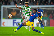 Nordi Mukiele (#22) of RB Leipzig tackles Scott Sinclair (#11) of Celtic FC during the Europa League group stage match between Celtic and RP Leipzig at Celtic Park, Glasgow, Scotland on 8 November 2018.