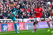 Swansea City midfielder Bersant Celina (10) clears the ball during the EFL Sky Bet Championship match between Barnsley and Swansea City at Oakwell, Barnsley, England on 19 October 2019.