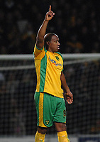 Photo: Ashley Pickering.<br />Norwich City v Sheffield Wednesday. Coca Cola Championship. 09/12/2006.<br />Dion Dublin (no. 9) celebrates scoring Norwich's only goal of the game