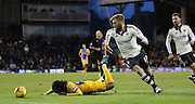 Fulham Defender Tim Ream tackles Preston North End Midfielder Daniel Johnson during the Sky Bet Championship match between Fulham and Preston North End at Craven Cottage, London, England on 28 November 2015. Photo by Pete Burns.