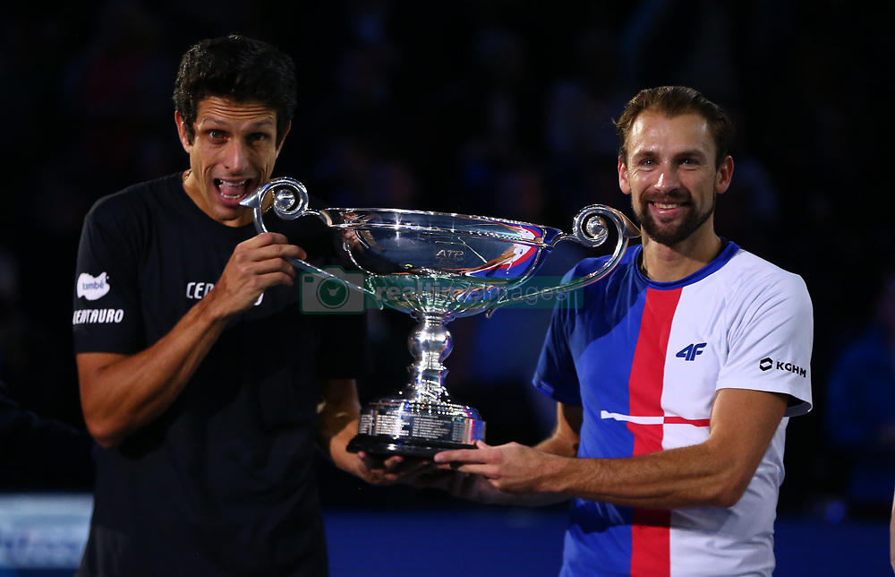November 13, 2017 - London, England, United Kingdom - Lukaez Kubut (POL) and Marcelo Melo (BRA) with number one Trophy.during Day Two of the Nitto ATP World Tour  Finals played at The O2 Arena, London on November 13 2017  (Credit Image: © Kieran Galvin/NurPhoto via ZUMA Press)