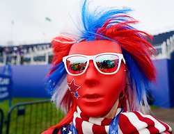 Auchterarder, Scotland, UK. 12 September 2019. Final practice day for the 2019 Solheim Cup before the official opening saw many patriotic fans arrive on the course at Gleneagles. Pictured; Team USA fan Shirley Gallagher from Fort Lauderdale Florida in striking patriotic fancy dress.  Iain Masterton/Alamy Live News