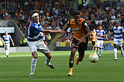 Gabriele Angella  and Abel Hernandez  during the Sky Bet Championship match between Hull City and Queens Park Rangers at the KC Stadium, Kingston upon Hull, England on 19 September 2015. Photo by Ian Lyall.