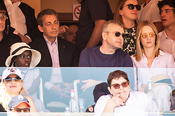 Nicolas Sarkozy and Valeria Bruni-Tedeschi's daughter Celine Garrel attend the match Rafael Nadal vs Grigor Dimitrov (6-4, 6-1) during the Monte Carlo Rolex Masters at the Country Club of Monaco.In the photo Sarkozy is with Dmitrij Rybolovlev. Monaco on april 21th, 2018. Photo by ABACAPRESS.COM