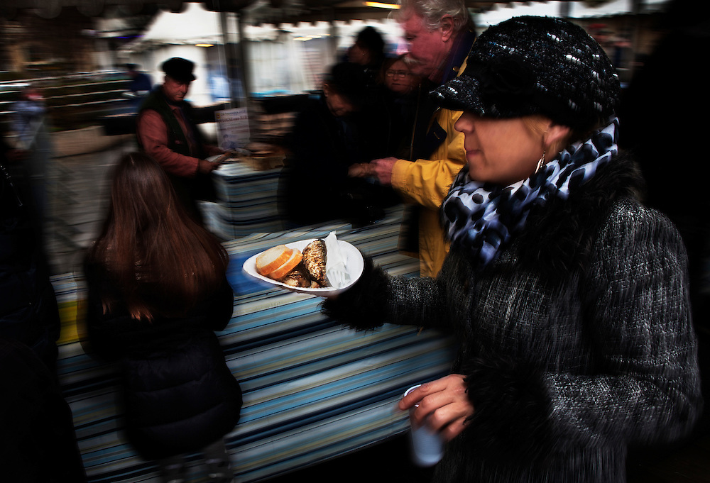 The Herring Festival, Boulogne-sur-Mer, France, which is held every year in November and lasts for two days.<br /> <br /> It attracts crowds of people, including visitors and locals alike, who gather to eat barbecued herring, and toast the arrival of the first bottles of Beaujolais Nouveau.  <br /> <br /> The festival is a major attraction and also acts as a celebration of the fishing industry that includes a variety of music, including local people singing French folk songs in traditional dress.