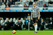 Jonjo Shelvey (#8) of Newcastle United stands over a free kick during the Premier League match between Newcastle United and Watford at St. James's Park, Newcastle, England on 3 November 2018.