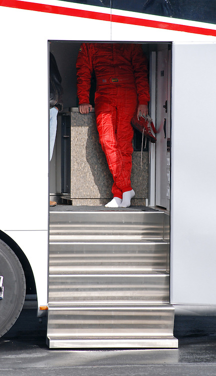 A driver waits to race from the shelter of his trailer during HMSA events at Laguna Seca