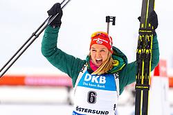 March 10, 2019 - –Stersund, Sweden - 190310 Denise Herrmann of Germany celebrates after the Women's 10 km Pursuit during the IBU World Championships Biathlon on March 10, 2019 in Östersund..Photo: Petter Arvidson / BILDBYRÃ…N / kod PA / 92254 (Credit Image: © Petter Arvidson/Bildbyran via ZUMA Press)