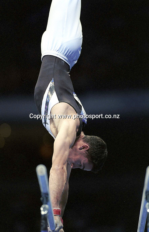 David Phillips (NZL) competes in the Men's individual Gymnastics at the Olympics in Sydney, Australia on 16 September, 2000. Photo: Dean Treml/PHOTOSPORT<br /><br /><br /><br /><br />160900 *** Local Caption ***
