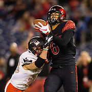 10 November 2018: San Diego State Aztecs wide receiver Tim Wilson Jr. (6) catches a 34 yard touchdown pass to give the Aztecs a 24-13 lead in the third quarter. The Aztecs lost 27-24 to UNLV Saturday night at SDCCU Stadium falling a game behind Fresno State in the conference standings.