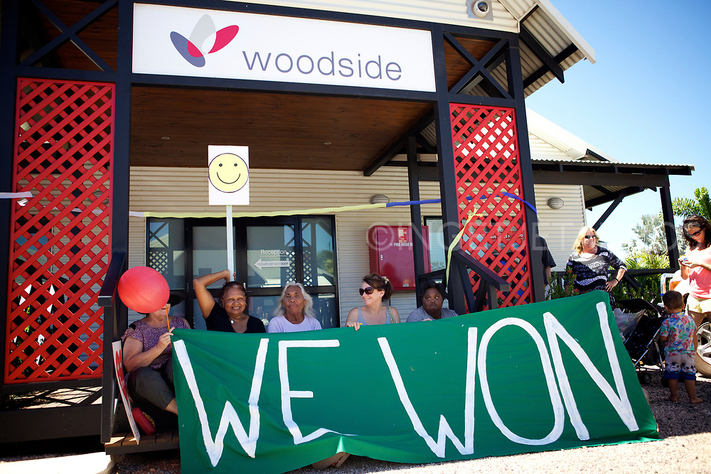 We Won! Protesters celebrating in front of Woodside's office in Broome. Woodside's proposal to build a 45 billion dollar gas Hub at James Price Point in Western Australia has been dumped, after its initial plan was judged to be uneconomic. Broome, WA