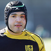 An injured player bleeding during the Four Leaf 15's Club Rugby Tournament at Randall's Island New York. The tournament included 70 teams in 6 divisions, organized by the New York City Village Lions RFC. Randall's Island, New York, USA. 23rd March. Photo Tim Clayton