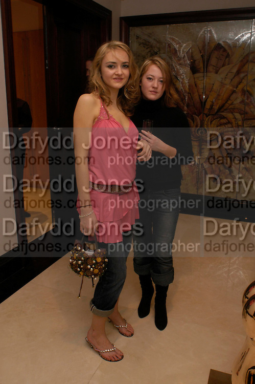 Catharine Denning and Millie Jefferies. Candy &amp; Candy. Apartment launch party Fifth Floor, 17-22 Trevor Square Tim Jefferies<br />