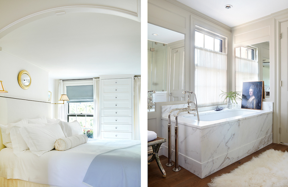 Ensuite Bed and Bathroom of Beacon Hill Townhouse.  Designer: Patricia McDonagh Interior Design