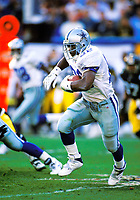 Dallas Cowboys Emmitt Smith plays in Super Bowl XXX against the Pittsburgh Steelers at Sun Devil Stadium on January 28, 1996 in Tempe, AZ. The Cowboys defeated the Steelers  27-17.<br />  (AP Photo/Tom DiPace)