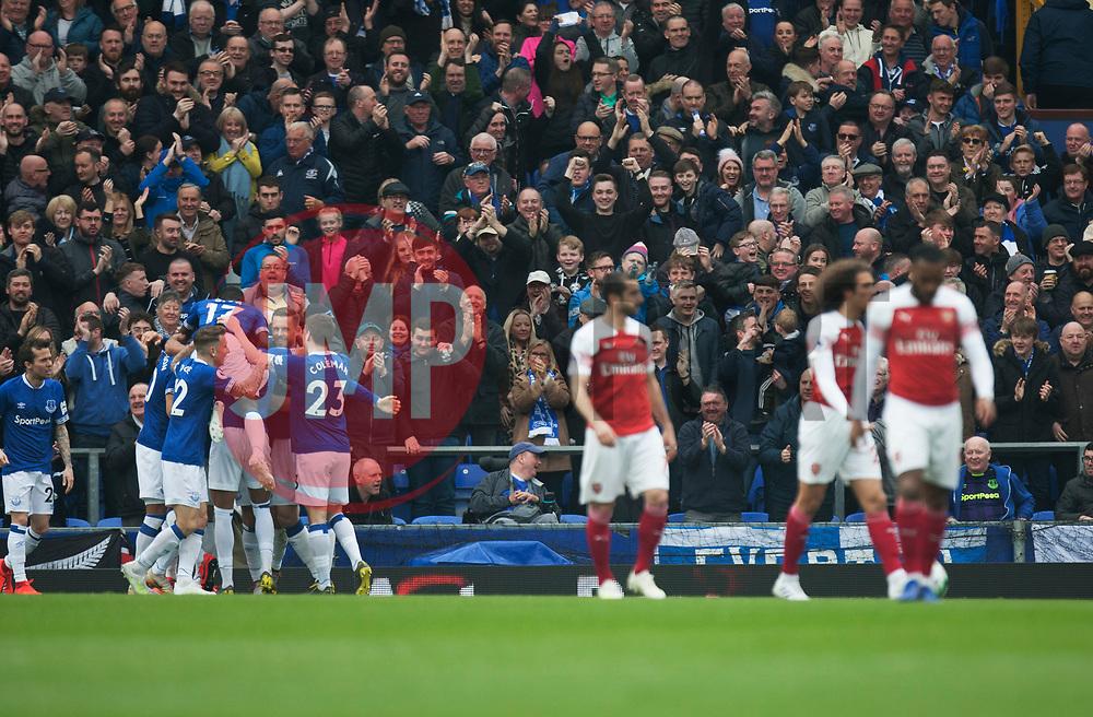 Phil Jagielka of Everton (L) celebrates after scoring his sides first goal - Mandatory by-line: Jack Phillips/JMP - 07/04/2019 - FOOTBALL - Goodison Park - Liverpool, England - Everton v Arsenal - English Premier League