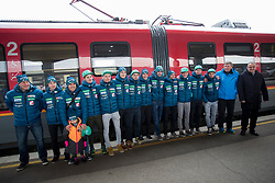 Ski jumpers prior to the driving of Slovenian National Ski jumping Team from Ljubljana by train to the FIS World Cup Ski Jumping Final Planica 2018, on March 21, 2018 in Ljubljana, Slovenia. Photo by Urban Urbanc / Sportida