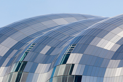 Roof Of The Sage Gateshead Constructed Of Stainless Steel Panels With A  Linen Finish To Reduce