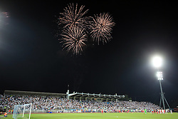 22.08.2013, Stadion Kantrida, Rijeka, CRO, UEFA EL Qualifikation, HNK Rijeka vs VfB Stuttgart, Hinspiel, im Bild Feuerwerk // during the UEFA Europa League Qualification first leg match between HNK Rijeka and VfB Stuttgart at Kantrida Stadium in Rijeka, Croatia on 2013/08/22. EXPA Pictures © 2013, PhotoCredit: EXPA/ Pixsell/ Nel Pavletic<br /> <br /> ***** ATTENTION - for AUT, SLO, SUI, ITA, FRA only *****