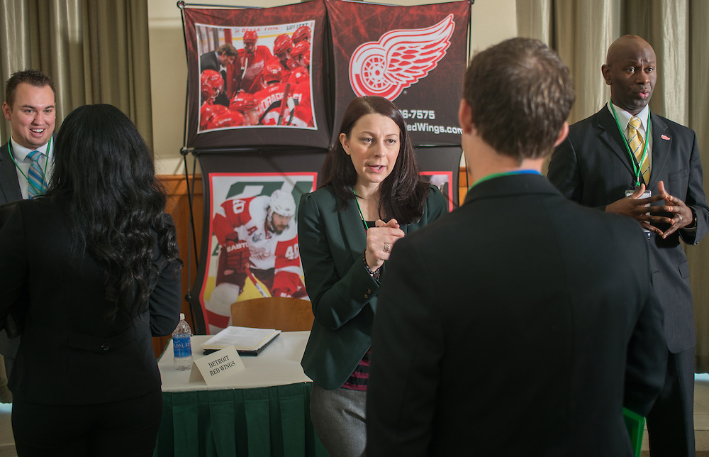 Representatives from the Detroit Red Wings interview students who could be potential employees at the Ohio University Sports Administration Career Fair in the Walter Hall Rotunda. Photo by Elizabeth Held