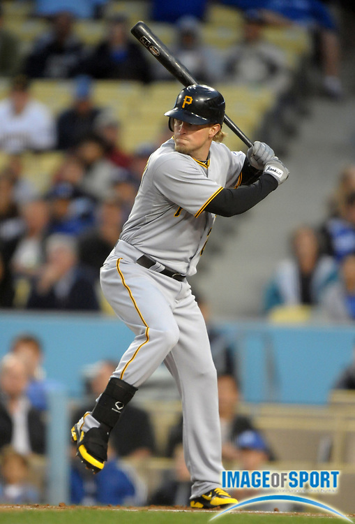 Apr 11, 2012; Los Angeles, CA, USA; Pittsburgh Pirates outfielder Nate McLouth (2) bats during the game against the Los Angeles Dodgers at Dodger Stadium.