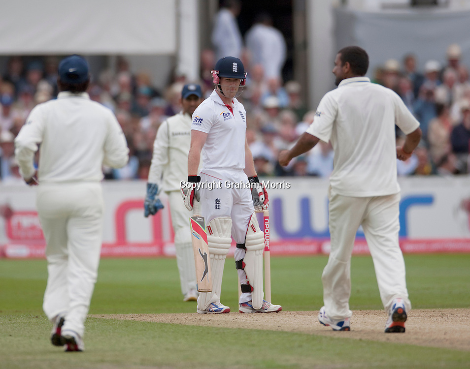 Eoin Morgan stands his ground after being given out lbw for nought during the second npower Test Match between England and India at Trent Bridge, Nottingham.  Photo: Graham Morris (Tel: +44(0)20 8969 4192 Email: sales@cricketpix.com) 29/07/11