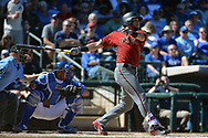 SURPRISE, AZ - MARCH 06:  David Peralta #6 of the Arizona Diamondbacks hits an RBI single against the Kansas City Royals in the fourth inning of the spring training game at Surprise Stadium on March 6, 2017 in Surprise, Arizona.  (Photo by Jennifer Stewart/Getty Images)