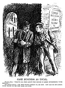 """Cash Business as Usual. Working Man. """"What's all this about the House o' Lords interfering with betting?"""" Back-Street Bookie. """"Oh, that won't affect us, my boy. You can go on losing your wages to me the same as ever."""" (a poster reads Lords' Decision - Heavy Blow to Bookmakers)"""