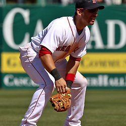 March 12, 2011; Fort Myers, FL, USA; Boston Red Sox shortstop Marco Scutaro (16) during a spring training exhibition game against the Florida Marlins at City of Palms Park. The Red Sox defeated the Marlins 9-2.  Mandatory Credit: Derick E. Hingle