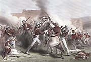 Indian Mutiny 1857-1859, also known as the Sepoy Mutiny or the Great War of Independence: Death of Brigadier Adrian Hope during British attack on Fort Roodamow 15 April 1858. Hand-coloured engraving.