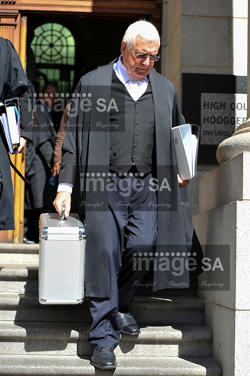 CAPE TOWN, SOUTH AFRICA - Monday 13 October 2014, Advocate Francois van Zyl SC, defence counsel for Shrien Dewani, leave the court after Day 4 of the Shrien Dewani trial at the Cape High Court before Judge Jeanette Traverso. Dewani is caused of hiring hit men to murder his wife, Anni. Anni Ninna Dewani (n&eacute;e Hindocha; 12 March 1982 &ndash; 13 November 2010) was a Swedish woman who, while on her honeymoon in South Africa, was kidnapped and then murdered in Gugulethu township near Cape Town on 13 November 2010 (wikipedia).<br /> Photo by Roger Sedres