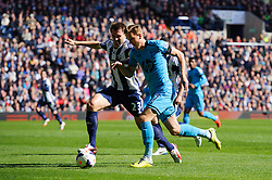 Harry Kane (ENG) of Tottenham Hotspur is challenged by Gareth McAuley (NIR) of West Brom - Photo mandatory by-line: Rogan Thomson/JMP - 07966 386802 - 12/04/2014 - SPORT - FOOTBALL - The Hawthorns Stadium - West Bromwich Albion v Tottenham Hotspur - Barclays Premier League.