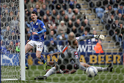 Leicester City's David Nugent ecores the first goal  - Photo mandatory by-line: Matt Bunn/JMP - Tel: Mobile: 07966 386802 -19/04/2014 - SPORT - FOOTBALL - King Power Stadium- Leicester - Leicester City v Queens Park Rangers- Sky Bet Championship