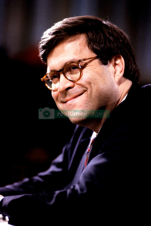 William P. Barr, who was was appointed by United States President George H.W. Bush to be the 77th US Attorney General, testifies before the US Senate Committee on the Judiciary on Capitol Hill in Washington, DC on November 12, 1991. 12 Nov 1991 Pictured: William P. Barr, who was was appointed by United States President George H.W. Bush to be the 77th US Attorney General, testifies before the US Senate Committee on the Judiciary on Capitol Hill in Washington, DC on November 12, 1991. Credit: Ron Sachs / CNP. Photo credit: Ron Sachs - CNP / MEGA TheMegaAgency.com +1 888 505 6342