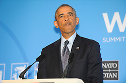 © London News Pictures. 05/09/2014. Newport, UK. <br /> American President Barack Obama speaking at the NATO (North Atlantic Treaty Organisation ) summit at Celtic Manor Resort, Newport, South Wales. Photo credit: Jeff Thomas/LNP