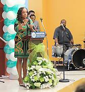 HISD Board Trustee Rhonda Skillern-Jones speaks at the Atherton Elementary School dedication on Friday.