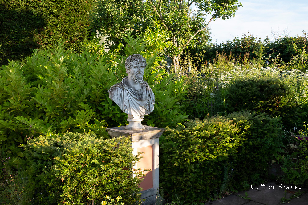 Carved stone statue of Roman Emperor Antoninus Pius surrounded by taxus baccata in the Laskett Gardens, Much Birch, Herefordshire, UK