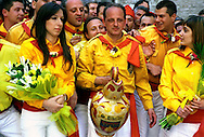 "Gubbio 15 MAY 2006..Festival of the Ceri..The ceraioli of St Ubaldo and the ""capodieci""....http://www.ceri.it/ceri_eng/index.htm.."