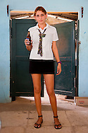 Waitress in Playa Blanca, Holguin Province, Cuba.