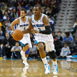 January 3, 2011; New Orleans, LA, USA; New Orleans Hornets point guard Chris Paul (3) against the Philadelphia 76ers during the third quarter at the New Orleans Arena.   Mandatory Credit: Derick E. Hingle