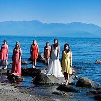 Amy and her bridesmaids along the Salish Sea after her Vancouver Island wedding to Travis.