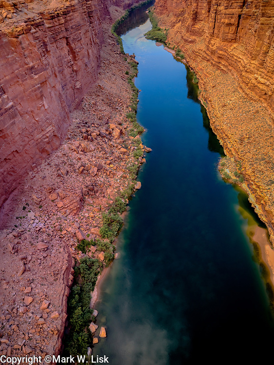 The Colorado River runs clean and clear through Marble Canyon, Grand Canyon National Park.