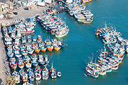 Mirissa Harbour with fishing boats.