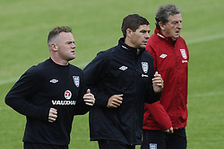 England Training Wayne Rooney,Steven Gerrard and Roy Hodgson Training ahead of their game against Sweden in the UEFA Euro 2012. Photo by Imago/i-Images.All Rights Reserved ©imago/i-Images .Contact Agency for fees before use...One use only. Re-Use Fees apply