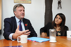 © Licensed to London News Pictures. 27/10/2014<br /> Ed Balls and Labour candidate Naushabah Khan<br /> <br /> Ed Balls, Labour's shadow chancellor,has been in Rochester on the campaign trail  today(27.10.2014)<br /> Mr Balls was joined by Labour candidate Naushabah Khan at Bruno's French Bakes shop in Rochester high Street to meet local people and make Carrot cake with Bruno Breillet  (Pastry Chief) and Naushabah Khan .<br /> Hilary Benn MP, Labour's Shadow Communities and Local Government Secretary was also at the event.<br /> <br /> (Byline:Grant Falvey/LNP)
