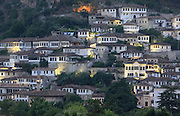 Houses in the Mangalem Quarter or Old Town in Berat, South-Central Albania, capital of the District of Berat and the County of Berat. In July 2008, the old town (Mangalem district) was listed as a UNESCO World Heritage Site. Picture by Manuel Cohen