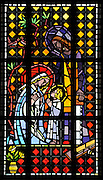 Stained glass image of Holy Family from Allouez Cemetery in Green Bay. (Photo by Sam Lucero)